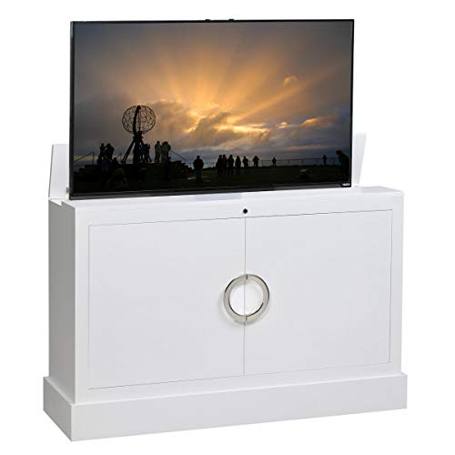 amazon com clubside in white finish tv lift cabinet kitchen dining