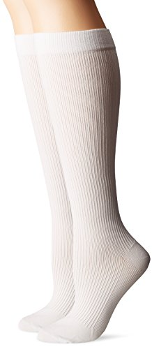 Dr. Scholl's Women's Travel Mild Compression 2 Pack Sock, White, 4-10 (Dr Scholls Compression Socks)