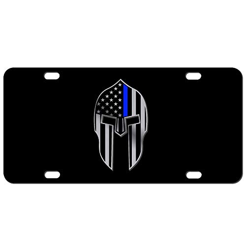 JASS GRAPHIX Thin Blue line Spartan Helmet Molon Labe HD 2D License - 2d Plate Blue