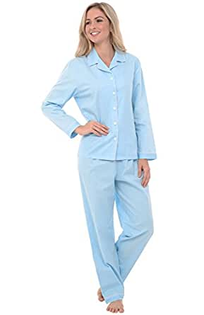 Alexander Del Rossa Womens Cotton Pajamas, Long Woven Pj Set, Small Light Blue with White Polka Dots (A0517R54SM)