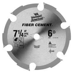 Vermont American 26950 5/8-Inch Arbor 7-1/4-Inch 6 Tooth Carbide Tipped Fiber Cement Circular Saw Blade