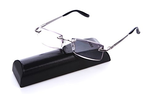 SOOLALA High End Diamond Cutting Rimless Anti-fatigue Magnifying Reading Glasses, - Glasses Reading Rimless Cheap