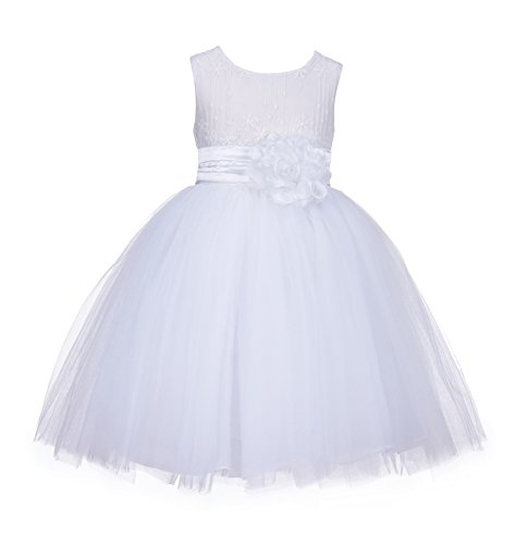 ekidsbridal White Lace Embroidery Tulle Flower Girl Dress Girl Lace Dress 118 2 (Flower Pin Removable)