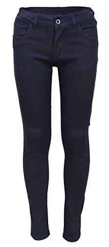 - Beverly Hills Polo Club Girls School Uniform Skinny Stretch 5 Pocket Twill Pants With Belt, Navy, Size 14'