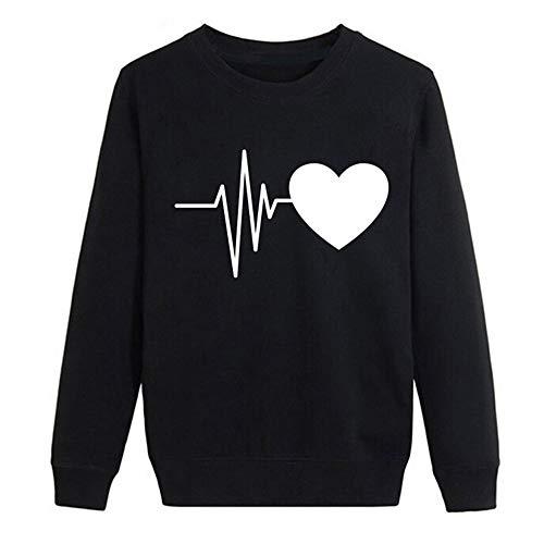 4fe8d827bd on sale KaloryWee 2018 Damen Frauen Beiläufig Herbst Langarm Herz Printed  Sweatshirt Pullover Bluse Tops Schwarz