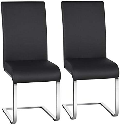 DXXWANG Dining Chairs PU Leather Modern Dining Room Chairs Metal Home Kitchen Black 2PCS