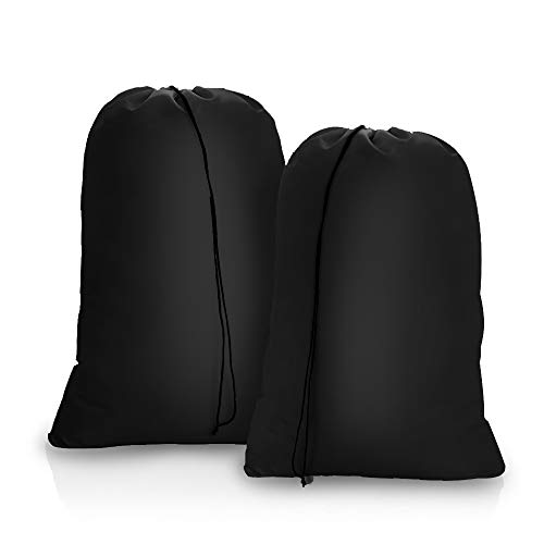 OTraki Extra Large Laundry Bag Heavy Duty 28 x 45 inch [2 Pack] College Drawstring XL Organizer Bags Fit Laundry Hamper Travel Dorm Tear Resistant Dirty Clothes Storage, Three Loads of Clothes Black