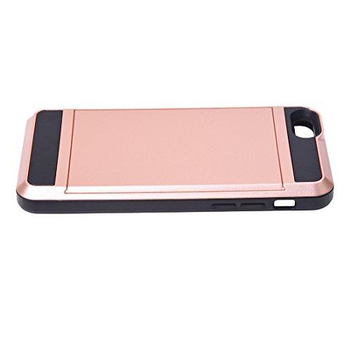 Telefon-Kasten - SODIAL(R)Karte Tasche Stossfeste Duenne Hybrid Mappe Abdeckung fuer iPhone 6/ 6S Rose Golden