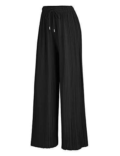 Made By Johnny WB1484 Womens Pleated Wide Leg Palazzo Pants with Drawstring OneSize Black