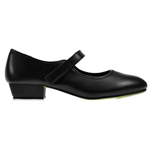 Starlite Backflip Schwarz PU Klettband Tap Schuhe 4 L rTaMc