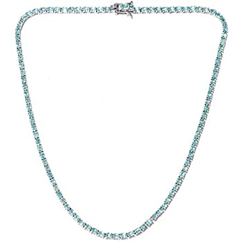 0ff9f7bae0dc 925 Sterling Silver Platinum Plated Oval Apatite Necklace for Women and  Girls 18