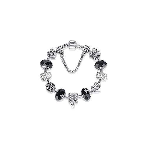 VBTY Beaded Stretch Bracelet, Stone Beads,925 Silver Crystal Charm Bracelet for Women Silver Snake Chain & Murano Glass Black Beads Bracelet Authentic Jewelry PS3881 20cm