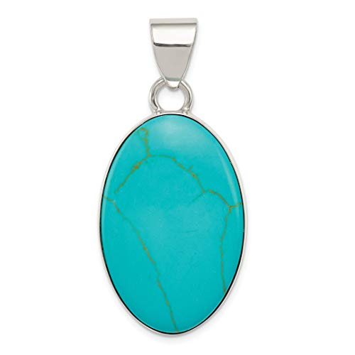 925 Sterling Silver Blue Turquoise Oval Pendant Charm Necklace Gemstone Fine Jewelry For Women Gift ()