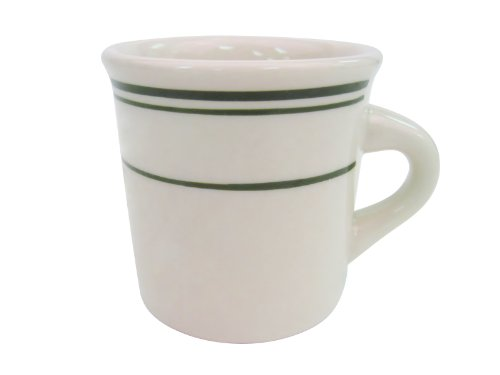 CAC China GS-38 3-3/8-Inch Greenbrier 8-Ounce Green Band Stoneware Mug, American White, Box of 36 by CAC China
