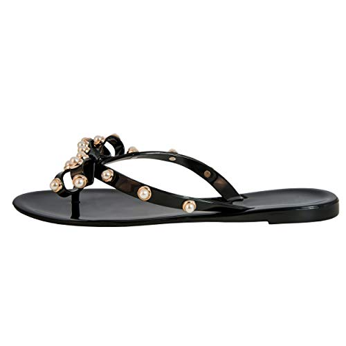 (Pearled Studded Bow Jelly Thong Sandals Valencia-Valentino Rock St Women's Rockstud Flip Flop (9US, Perla Black))