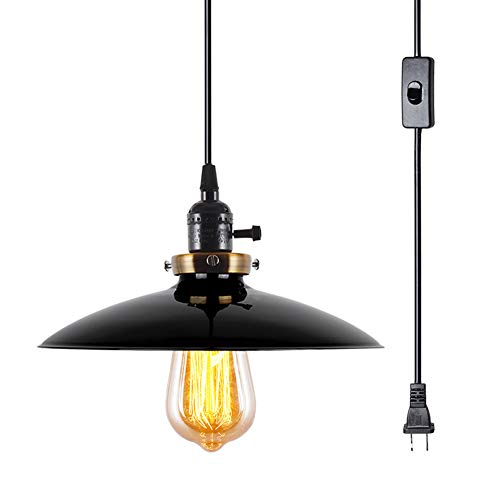 - LAMPUNDIT Plug-in UFO Pendant Light with 15.6ft Cord, On/Off Switch, 1-Light, Black