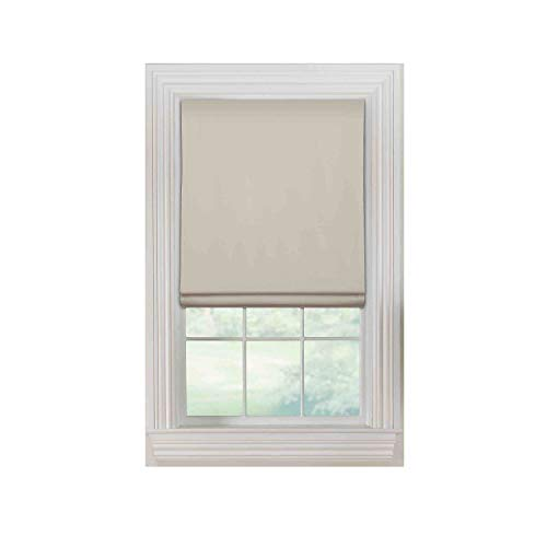 "(Furniture Fresh Flat Roman Shades-Blackout, Thermal-(32""W x 72""L, Ivory-OffWhite)-Linen & Polyester-Cordless)"