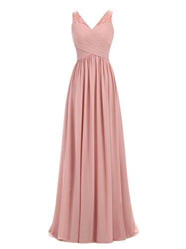 (A-line V-Neck Chiffon Long Empire Bridesmaid Dresses Simple Prom Dresses Dusty Rose)