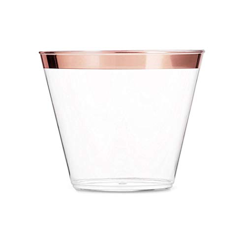 (9 oz Rose Gold Trimmed Plastic Cups ~ Clear Plastic Old Fashioned Tumblers ~ Elegant Rose Gold Rim ~ 80 Count Durable Disposable Cups ~ Wedding Cups ~ Party Cups)