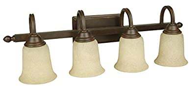 Craftmade 15228AG4 Vanity Lights with Tea-Stained Glass Shades, Aged Bronze