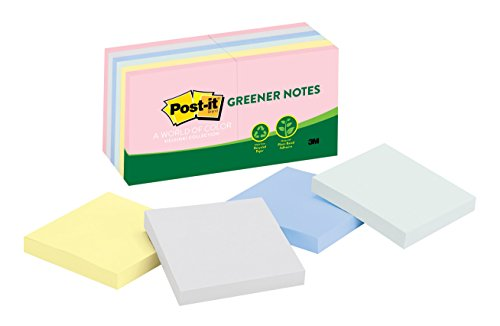 Post-it Greener Notes, 3 in x 3 in, Helsinki Collection, 100 Sheets/Pad, 12 Pads/Pack (654-RP-A)