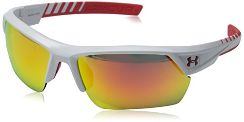 Under Armour Igniter II Shiny White Frame w/ Orange Mirror Lens Sunglasses - Sunglasses Baseball Players For