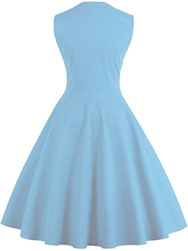FAIRY COUPLE 50s De lunares floral de la Vendimia Botón de Cóctel Vestido de Fiesta de Oscilación DRT006 Puntos Cielo Azul