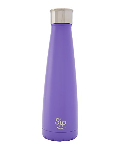 S'ip by S'well Vacuum Insulated Stainless Steel Water Bottle, Double Wall, 15 oz, Purple Rock Candy