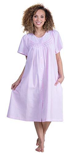 Miss Elaine Short Smocked Snap Front Seersucker Robe in Pink Stripe (Smocked Pink Stripe, X-Large)