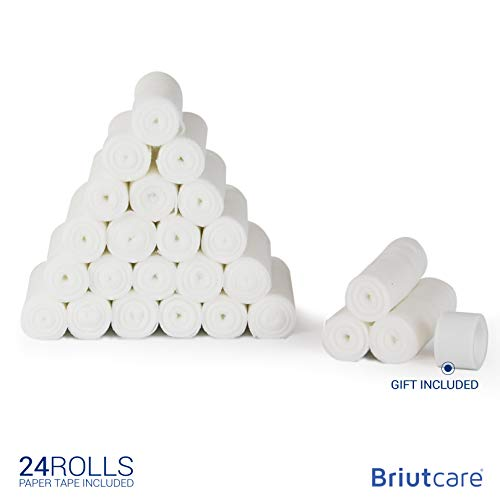 Briutcare Gauze Roll 24 Pcs | FDA Approved | 4x4 Yards Medical Bandage wrap | Ideal for First Aid kit and Wound Care Supplies | Gauze Bandage Roll w/Gift Medical - Measuring Equine Stick