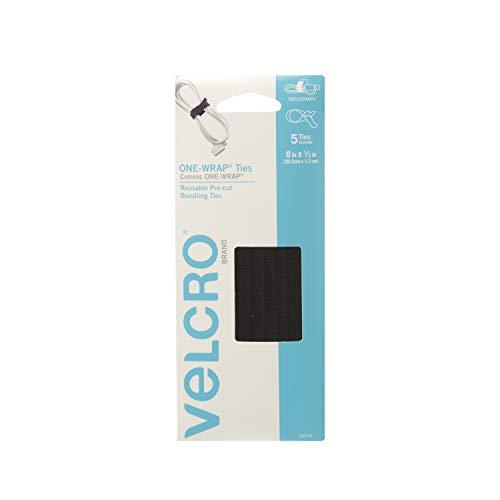 Velcro 90726MXN Correas Precortadas Reutilizables One-Wrap, 20.3 X 1.2 cm, 5 Piezas, color negro