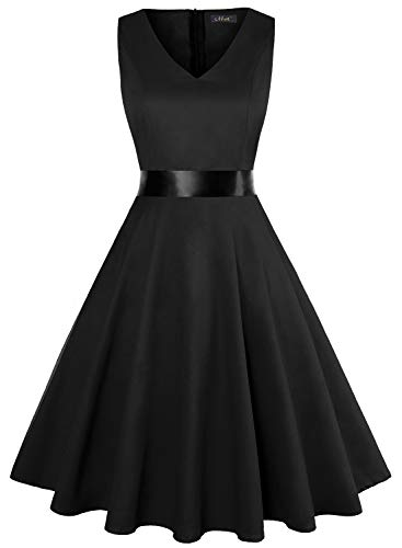 IHOT Vintage Tea Dress 1950's Floral Spring Garden Retro Swing Prom Party Cocktail Dress for Women (S, Black) (Dresses For Bridesmaid Women)