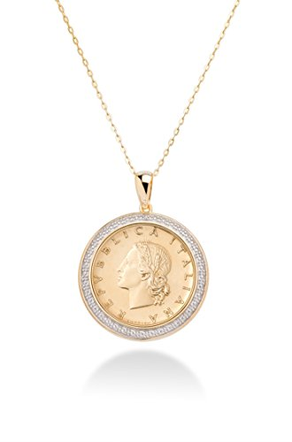 er 925 Sterling Silver Diamond Accent Genuine Italian 20 Lira Coin Pendant Necklace for Women 18