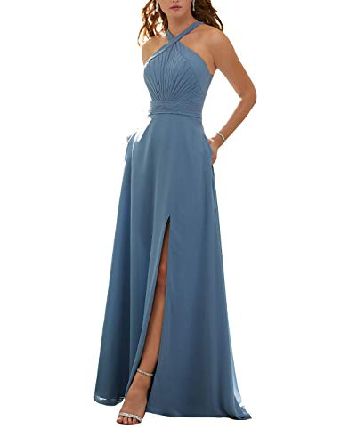 - Stylefun Women's Halter Bridesmaid Dresses Slit 2019 Formal Prom Evening Party Gowns with Side Pockets 14 Slate Blue