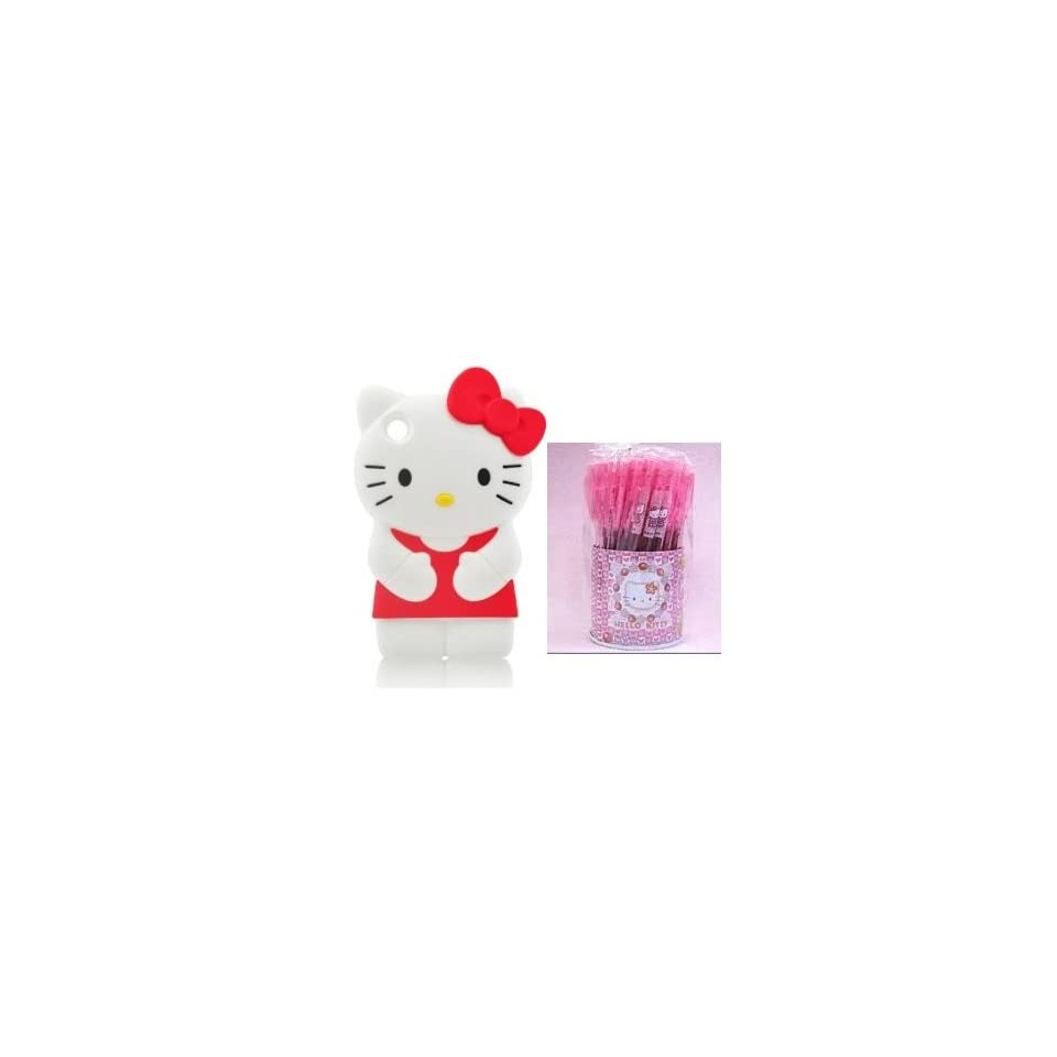 Ship from USA Hello Kitty 3D Ipod Touch 4 Red Soft Silicone Cover Case for itouch 4 4th Generation + Free 1 piece of hello kitty ball pen