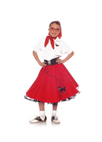 [Hip Hop 50s shop 3 Piece Child Poodle Skirt Outfit, Size 6 Red] (Sock Hop 50s Costumes)