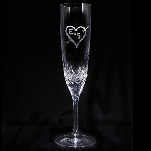 Waterford Crystal Champagne Flute Engraved Wedding Gifts, SINGLE Toasting Glass ()
