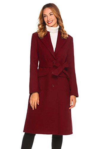 sholdnut Womens Wool-Blend Thick Solid Single Breasted Long Trench Coat with Belt by sholdnut