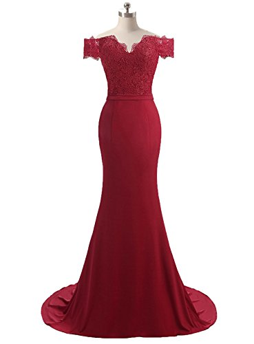 HEIMO Women's V-Neck Mermaid Evening Party Gowns Appliques Formal Prom Dresses Long H115 10 Burgundy by HEIMO