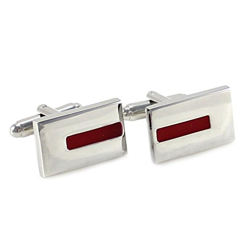 MENDEPOT Classic Rhodium Plated Rectangle Color Cufflinks with Box (Red)