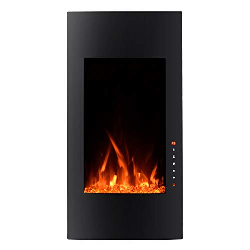 Cheap 3G Plus Vertical Electric Fireplace Wall Mounted Heater Crystal Stone Flame Effect 3 Colors Flame 3 Colors Backlights with 2 Remotes 1500W - 32 inch Curved Glass Electric Fireplace Black Friday & Cyber Monday 2019