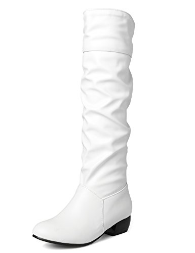 Sungtin Women's White Faux Leather Knee High Flat Slouch Boots 10 M US