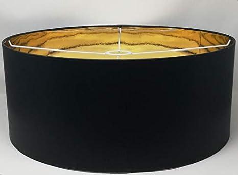 Tisch Lampenschirm Zylinder Form Schwarz Stoff Gold Futter Handarbeit Verschiedene Gr/ö/ßen Deckenanh/änger 50 cm Durchmesser 30 cm H/öhe