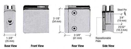 CRL Brushed Stainless Steel Z-Series Square Type Radius Base Zinc Clamps for 3/8