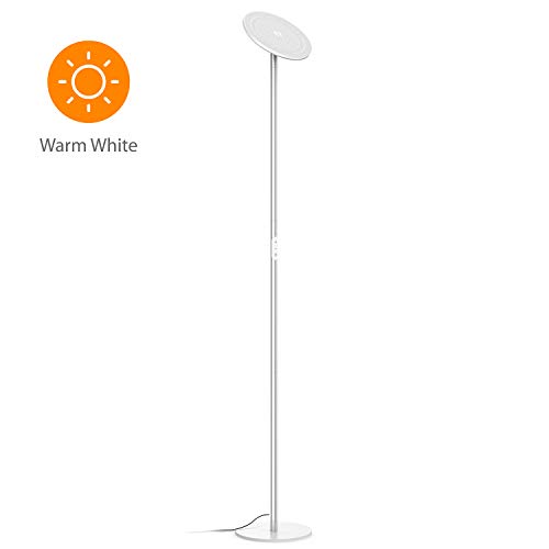 Silver Halogen Floor Lamp - TROND LED Torchiere Floor Lamp Dimmable 30W, 3000K Warm White, 71-Inch Tall, Modular Rod Design, 30-Minute Timer, Wall Switch Compatible, for Living Room Bedroom Office - Silver