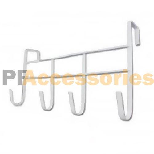 4 Hooks Over Door Hanging Rack Holder for Home Bathroom Kitchen Hat Towel White (Coat Marvel Rack)