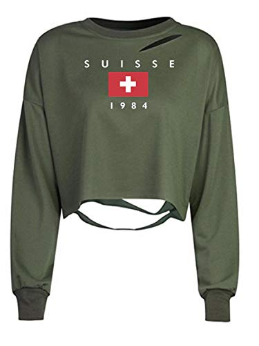 Army Green Distressed Ripped Loose Crop Sweatshirt Pullover Top S