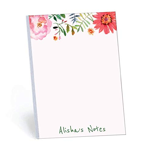 Wildflower Set of 2 Personalized Memo Pads/Notepads, 2 pads - 50 sheets per pad. Available in 5.5