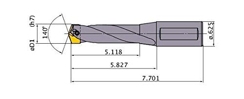 8 Hole Depth Mitsubishi Materials TAWLNH0037 TAW Series Indexable Insert Type Drill 0.625 Shank Dia. 0.5781 Cutting Dia Internal Coolant