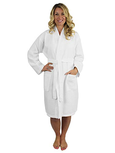 - Premium Turkish Cotton Waffle Weave Lightweight Kimono Spa Bathrobe for Women (White, XX-Large)